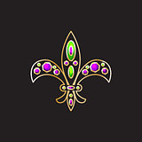 Royal fleur-de-lis with gems and gold contour decor vector.