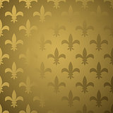 Royal flower fleur gold gradient seamless pattern.