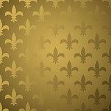 Royal flower fleur gold gradient seamless pattern.