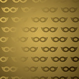 Masquerade mask golden gradient seamless pattern.
