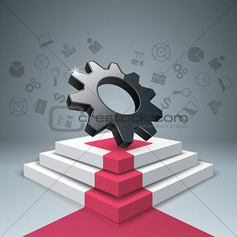 Cogwheel, gear, pedestal, ladder, stair icon. Business infograph