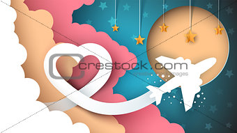 Cartoon paper landscape. Airplane illustration.