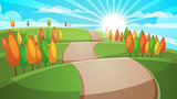 Cartoon forest landscape. Road illustration.