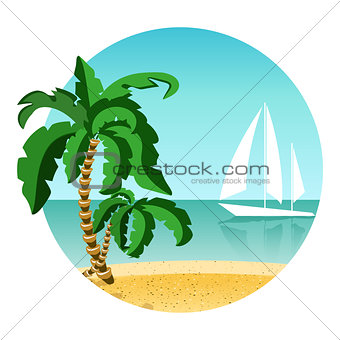 Round picture of summer vacation on island with yacht. Travel summer time. Palm, sand and ocean