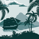 Tropical landscape, view from the shore with palm trees and plants, sailing ship, mountains in the distance.