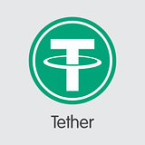 Tether Digital Currency. Vector USDT Pictogram.