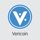 Vericoin Digital Currency Coin. Vector Trading Sign of VRC.