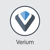 Verium - Blockchain Cryptocurrency Sign Icon.