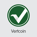Vertcoin Virtual Currency. Vector VTC Coin Symbol.