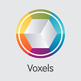 Voxels Cryptocurrency. Vector VOX Graphic Symbol.