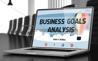 Business Goals Analysis on Laptop in Conference Hall.