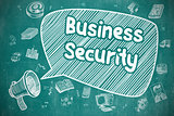 Business Security - Cartoon Illustration on Blue Chalkboard.