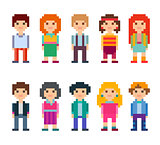 Collection of cute characters. Pixel style