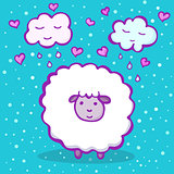 Sweet sheep on a blue background with clouds and hearts