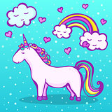 Sweet unicorn on a blue background with a rainbow, clouds and hearts