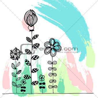 Abstract creative poster with hand-drawn blots and flowers