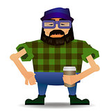 Vector of a bearded cartoon hipster dressed in a plaid shirt, holding a coffee.