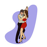 Salsa or argentine tango dancing couple man and woman in vector. International tango day