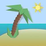 Papercut vector island illutration