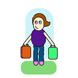 Woman with shopping bags. Vector flat cartoon illustration