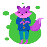 Funny purple fox character. Humanized forest animal in pink sarafan and purple t-shirt.