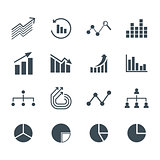 Charts and graphs flat and line icons set