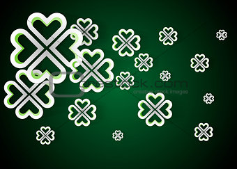 Green background with four leaf clovers, St. Patrick s Day background vector illustration
