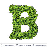 Letter B symbol of green leaves.