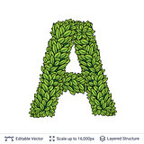 Letter A symbol of green leaves.