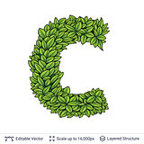 Letter C symbol of green leaves.