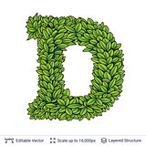 Letter D symbol of green leaves.