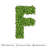 Letter F symbol of green leaves.
