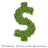 Dollar currency sign of green leaves.
