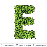 Letter E symbol of green leaves.