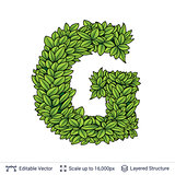 Letter G symbol of green leaves.