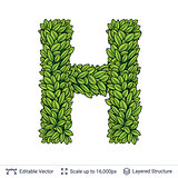 Letter H symbol of green leaves.