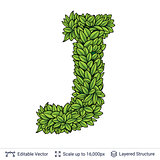 Letter J symbol of green leaves.