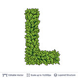 Letter L symbol of green leaves.