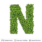 Letter N symbol of green leaves.