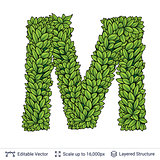 Letter M symbol of green leaves.