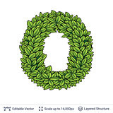 Letter O symbol of green leaves.