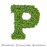 Letter P symbol of green leaves.