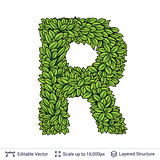 Letter R symbol of green leaves.