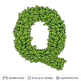Letter Q symbol of green leaves.