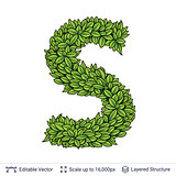 Letter S symbol of green leaves.