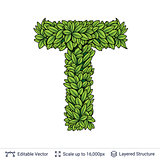 Letter T symbol of green leaves.