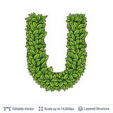 Letter U symbol of green leaves.