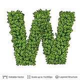Letter W symbol of green leaves.