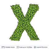 Letter X symbol of green leaves.