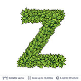 Letter Z symbol of green leaves.